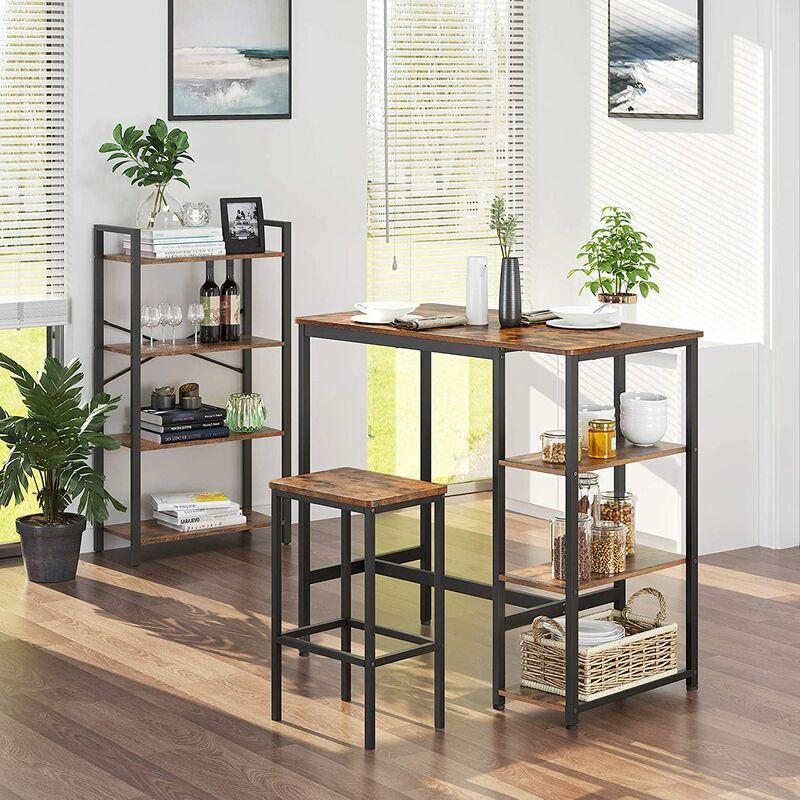 para Sala de Estar Mesa de Cocina Redonda 80 x 75 cm Oficina Di/ámetro x Altura Marr/ón R/ústico y Negro KDT080B01 VASAGLE Mesa de Comedor Estilo Industrial