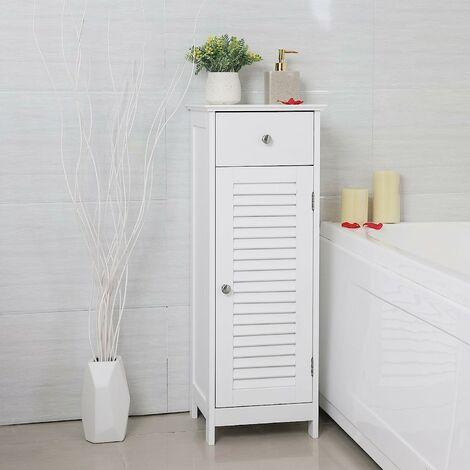 VASAGLE Meuble de salle de bain sur pied Meuble de rangement Armoire d'angle 1 tiroir 2 casiers Blanc par SONGMICS BBC43WT