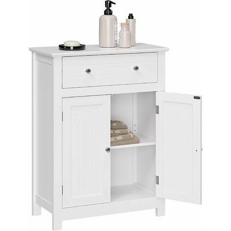 VASAGLE Meuble de salle de bains avec Tiroir et cloison amovible Placard Style cottage Meuble de rangement Blanc 60 x 30 x 80cm (L x l x H) par SONGMICS BBC61WT
