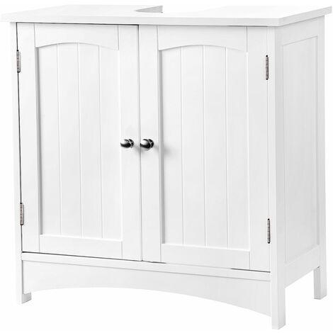 VASAGLE Meuble sous lavabo Armoire de rangement Meuble de salle de bain 2 portes battantes 2 casiers 1 séparateur amovible Anti-humidité 60 x 30 x 60cm Blanc par SONGMICS BBC01WT