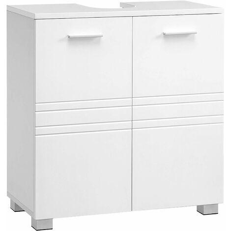 VASAGLE Meuble sous lavabo, Placard sous-Vasque de Salle de Bain avec Double Porte, étagère réglable, Pieds Stables, 60 x 30 x 63 cm, Blanc BBK110W01 - Blanc
