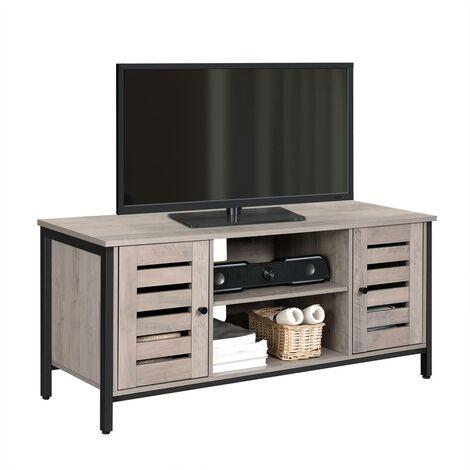 VASAGLE Meuble TV, Support télévision, avec étagères et placards de rangement, portes persiennes, pour salon, salle de jeu, style industriel