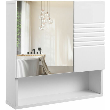 VASAGLE Mirrored Bathroom Cabinet, Storage Cupboard Wall Mounted, Wall Cabinet Storage, with Adjustable Shelves, Buffer Hinges, 54 x 15 x 55 cm, White by SONGMICS BBK21WT