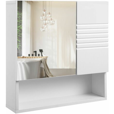 VASAGLE Mirrored Bathroom Cabinet, Storage Cupboard Wall Mounted, Wall Cabinet Storage, with Adjustable Shelves, Buffer Hinges, 54 x 15 x 55 cm, White by SONGMICS BBK21WT - White