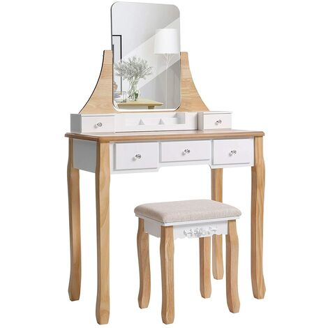VASAGLE Modern Dressing Table, Makeup Table with 1 Stool, 360° Swivel Mirror, 5 Drawers, Removable Makeup Tray, for Bedroom, White and Natural Colour by SONGMICS RDT25K