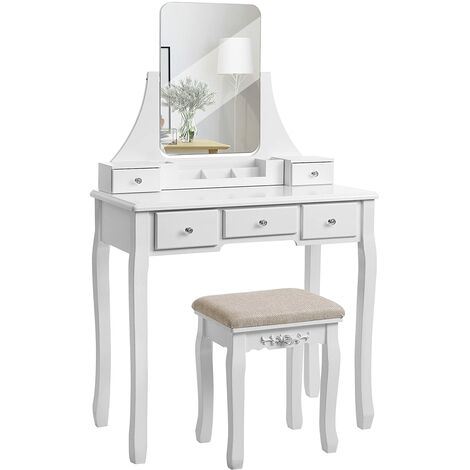 VASAGLE Modern Dressing Table with Frameless Mirror, Removable Organiser, Rubber Wood Stool, 5 Drawers, for Bedroom, Dressing Room, White/Black