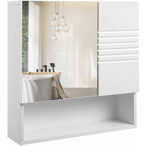 VASAGLE Mueble de Baño con Espejo, Armario de Pared, Armario de Pared, con Baldas Ajustables, Bisagras para Tampón, 54 x 15 x 55 cm, Blanco por SONGMICS BBK21WT - Blanco