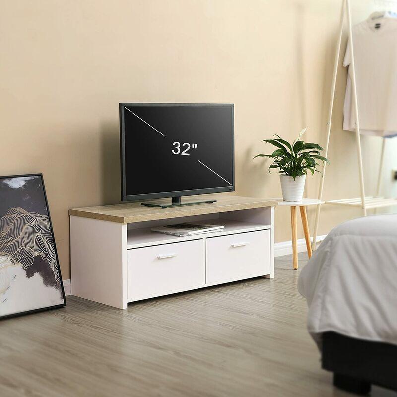 VASAGLE Mueble para TV con Compartimentos y Puertas, Mesa Baja para  Televisor, Receptor, Reproductor DVD, para Comedor, Blanco y Color Natural  por ...