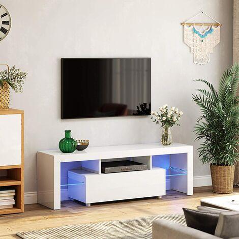 VASAGLE Mueble para TV, Mesa Grande para Televisores de hasta 60 Pulgadas, Soporte para TV con Iluminación LED, 140 x 35 x 45 cm, Moderno, Brillante, Blanco por SONGMICS LTV14WT - Blanco