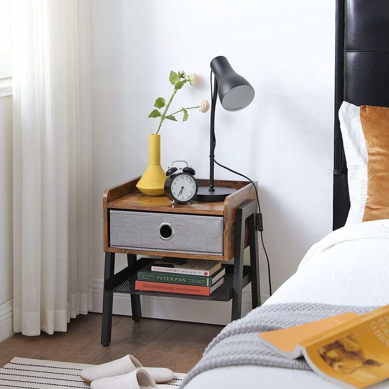 VASAGLE Nachttisch, Beistelltisch, Kaffeetisch, Ablage mit herausnehmbarer  Stoffschublade, Gitterablage, Metallrahmen, für Wohnzimmer, Schlafzimmer,  ...