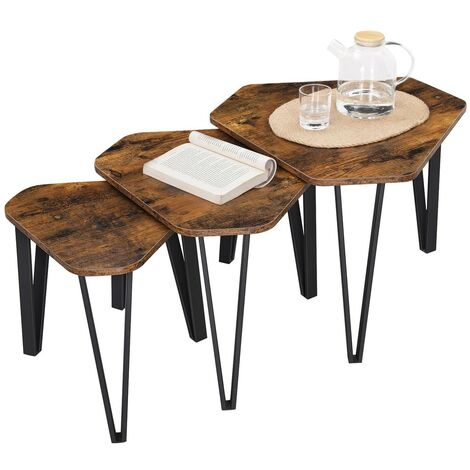 VASAGLE Nesting Coffee Table, Set of 3 End Tables for Living Room, Stacking Side Tables, Sturdy and Easy Assembly, Steel Frame, Industrial Style, Rustic Brown and Black by SONGMICS LNT14BX - Rustic Brown, Black