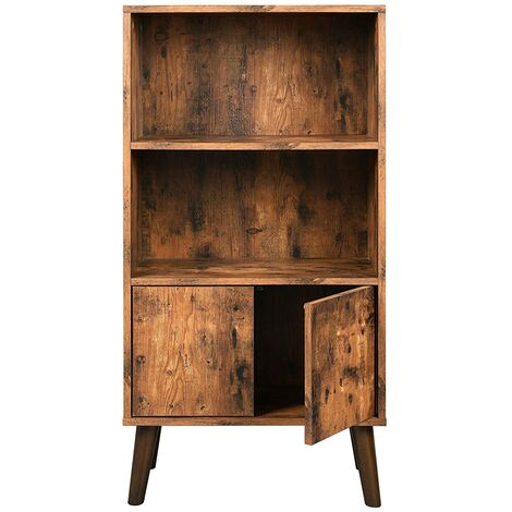 VASAGLE Retro Bookcase, 2-Tier Bookshelf with Doors, Storage Cabinet for Books, Photos, Decorations in Living Room, Office, Library, Mid-Century Modern, Brown by SONGMICS LBC09BX