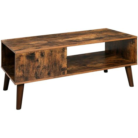 VASAGLE Retro Coffee Table, Cocktail Table, Mid-Century Modern Accent Table with Storage Shelf for Living Room, Reception, Easy Assembly, Brown by SONGMICS LCT09BX