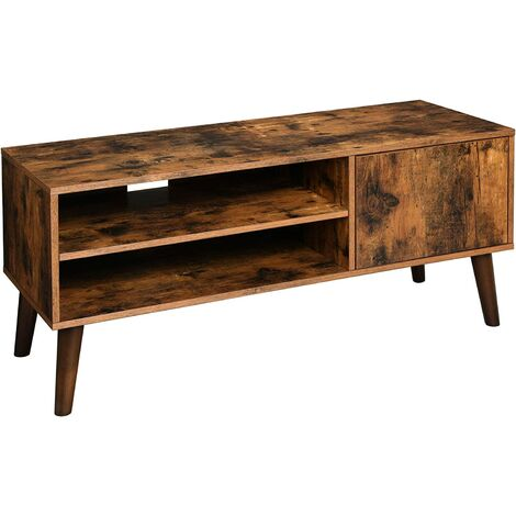 VASAGLE Retro TV Stand, TV Console, Mid-Century Modern Entertainment Centre for Flat Screen TV, Gaming Consoles, in Living Room, Entertainment Room, Office, Brown by SONGMICS LTV09BX