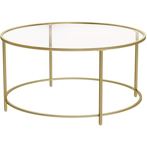 VASAGLE Round Coffee Table, Glass Table with Golden Iron Frame, Living Room Table, Sofa Table, Robust Tempered Glass, Stable, Decorative, Gold by SONGMICS LGT21G
