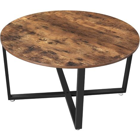 VASAGLE Round Coffee Table, Industrial Style Cocktail Table, Durable Metal Frame, Easy to Assemble, for Living Room, Bedroom, Rustic Brown by SONGMICS LCT88X
