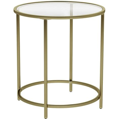 VASAGLE Round Side Table, Tempered Glass End Table With Golden Metal Frame, Small Coffee Table, Bedside Table, Living Room, Balcony, Robust and Stable, Decorative, Gold by SONGMICS LGT20G - Gold