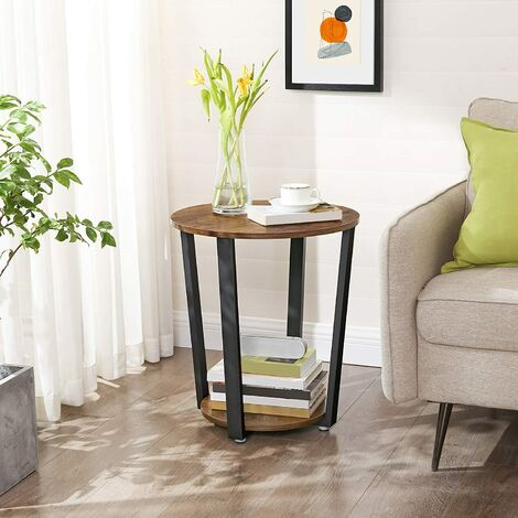 VASAGLE Runder Beistelltisch, Kaffeetisch im Industrie-Design, einfacher Aufbau, Sofatisch mit Eisengestell, Tisch für Wohnzimmer, Schlafzimmer, stabil, Holzoptik Vintage by SONGMICS LET57X
