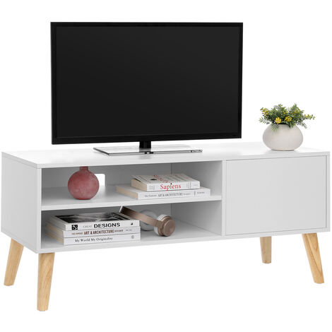 VASAGLE Scandinavian TV Stand, Retro TV Console, Entertainment Centre for Flat Screen TV, Gaming Consoles, in Living Room, Entertainment Room, Office, White by SONGMICS LTV09WT - White