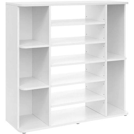 VASAGLE Schuhregal, Schuh-Organizer mit verstellbaren Regalebenen, Flurregal, Schuhaufbewahrung, pflegeleichte Melaminbeschichtung, 92 x 30 x 88,5 cm, weiß by SONGMICS LBC05WT - White