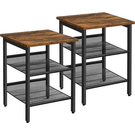 VASAGLE Set di 2 Tavolini a Lato Divano in Stile Industriale, con 2 Ripiani a Rete in Ferro, per Soggiorno, Camera da Letto, Corridoio, Ufficio, Stabile da SONGMICS LET24X