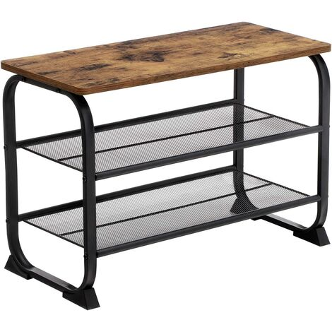VASAGLE Shoe Bench, Industrial Shoe Rack with 2 Mesh Shelves, Rounded Iron Frame, in Hallway and Living Room, Stable, Narrow and Space Saving, Rustic Brown, by SONGMICS, LMR32BX - Rustic Brown
