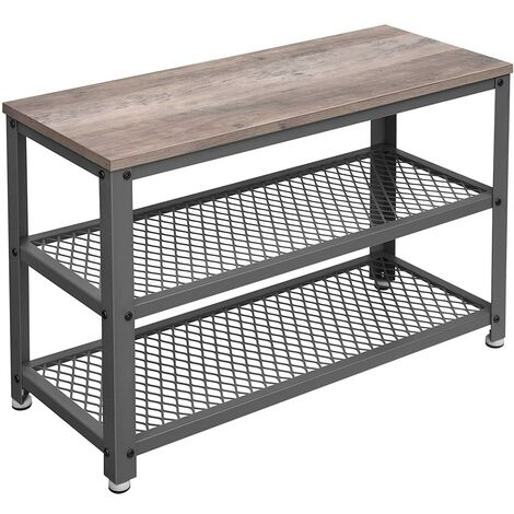 VASAGLE Shoe Bench Rack, 3-tier Industrial Storage Shelf with Seat, Wooden Shelf, Metal Frame, for Entryway, Living Room, Hallway, Rustic Brown/Greige and Grey