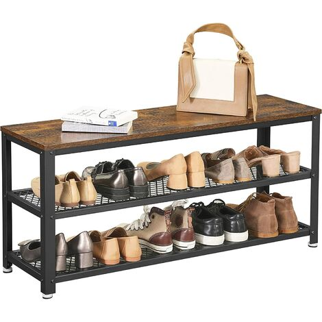 VASAGLE Shoe Bench, Shoe Rack with 2 Shelves, Shoe Organiser, 100 x 30 x 45 cm, Entryway Living Room Hallway, Steel Structure, Industrial Style, Rustic Brown and Black by SONGMICS LBS078B01