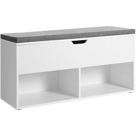 VASAGLE Shoe Bench, Storage Bench with 2 Open and 1 Closed Compartments, Shoe Shelf, Padded Seat, for Entrance Corridor Bedroom, 100 x 30 x 48 cm, White by SONGMICS LHS21WT