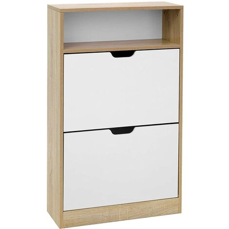 VASAGLE Shoe Cabinet with 2 Flaps, Shoe Rack with an Open Shelf, Melamine Veneer, Easy to Clean, 60 x 24 x 102 cm, White and Natural by SONGMICS LBC04NW