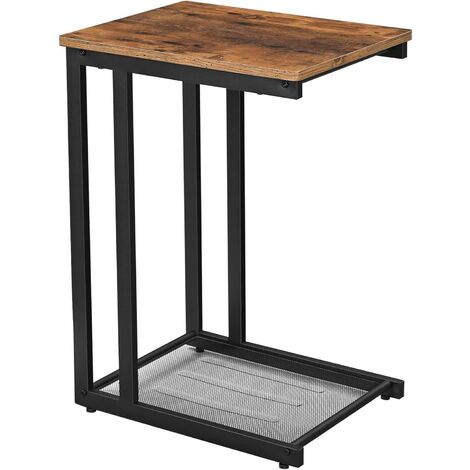 VASAGLE Side Table, End Table, Bedside Table with Mesh Shelf, Breakfast by the Bed, Under Sofa, in Living Room Bedroom, Easy Assembly, Space Saving, Industrial, Rustic Brown by SONGMICS LNT51X