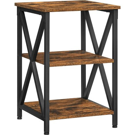 """main image of """"VASAGLE Side Table, End Table with X-Shape Steel Frame and 2 Storage Shelves, Night Table, Farmhouse Industrial Style, 40 x 40 x 60 cm, Rustic Brown and Black by SONGMICS LET278B01 - Rustic Brown and Black"""""""