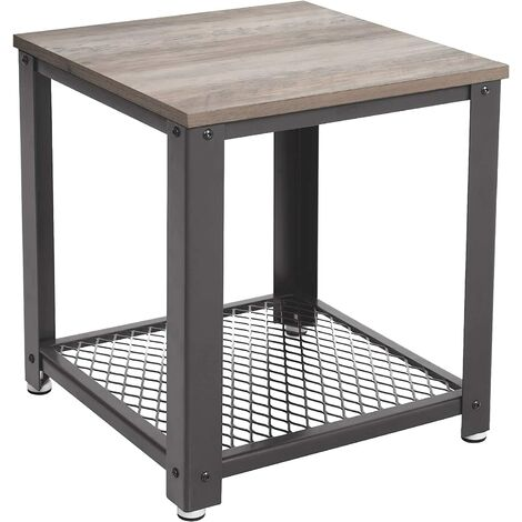 VASAGLE Side Table, Industrial End table, Coffee Table, with Metal Frame, Easy to Put Together, for Living room, Bedroom, Kitchen, Greige and Grey/Rustic Brown