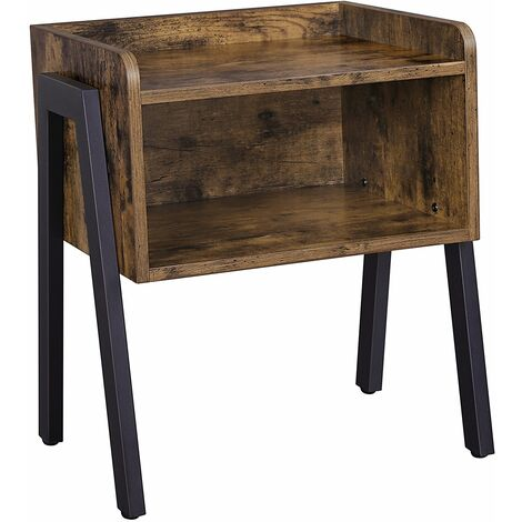 VASAGLE Side Table, Industrial Nightstand, Stackable End Table with Open Front Storage Compartment, Retro Rustic Chic Wood Look, Accent Furniture with Metal Legs, Rustic Brown by SONGMICS LET54X