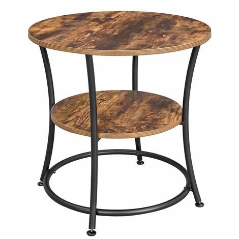 VASAGLE Side Table Round, End Table with 2 Shelves, Living Room, Bedroom, Easy Assembly, Metal, Industrial Design, Rustic Brown by SONGMICS LET56BX - Rustic Brown