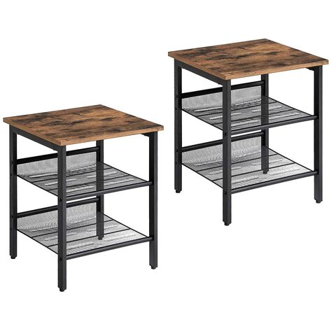 VASAGLE Side Table Set, Nightstand, Set of 2 Industrial Bedside Tables, with Adjustable Mesh Shelves, Living Room, Bedroom, Hallway, Office, Stable, Greige and Black/Rustic Brown