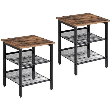 VASAGLE Side Table Set, Nightstand, Set of 2 Industrial Bedside Tables, with Adjustable Mesh Shelves, Living Room, Bedroom, Hallway, Office, Stable, Greige and Black/Rustic Brown