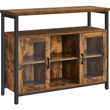 """main image of """"VASAGLE Sideboard, Buffet Table with 2 Transparent Glass Doors, TV Cabinet, with Adjustable Shelves, for Dining Room, 110 x 35 x 80 cm, Industrial Style, Rustic Brown and Black by SONGMICS LSC095B01 - Rustic Brown and Black"""""""