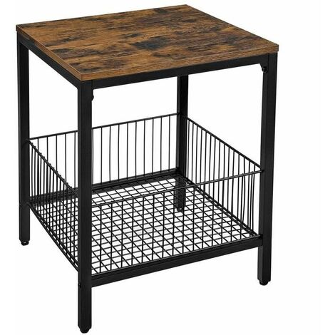 VASAGLE Sofa Side Table, End Table, Nightstand, with Wire Basket, for Bedroom, Living Room, Simple Structure, Stable, Industrial Style, Rustic Brown and Black by SONGMICS LET35BX