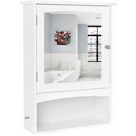 VASAGLE Spiegelschrank, Wandschrank Verstellbarem Einlegeboden, Medizinschrank im Landhausstil, Badschrank aus Holz, Weiß, 48 x 65 x 16cm (B x H x T), by SONGMICS, BBC21WT