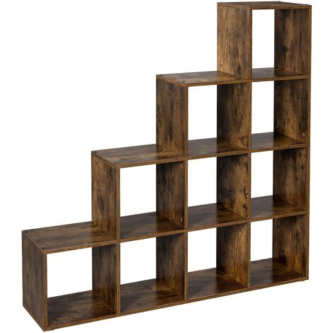 VASAGLE Staircase Shelf, 10-Cube Storage Unit, Wooden Display Rack, Free Standing Shelf, for Study, Living Room, Bedroom, Rustic Brown by SONGMICS LBC10BX