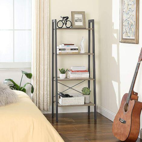 VASAGLE Standregal, Bücherregale, 4 Ebenen Leiter Regal, Stabiles Metall für den Rahmen, einfache Montage, für Wohnzimmer, Schlafzimmer, Küche, Vintage/Greige-grau
