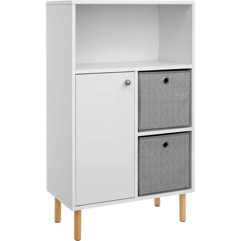 VASAGLE Storage Cabinet, Bookcase, 1-Door Cupboard with Adjustable Inner Shelf, 2 Drawer Compartments with Fabric Boxes, Open Compartment, 58.5 x 30 x 96 cm, for Living Room, White by SONGMICS LBC81WT