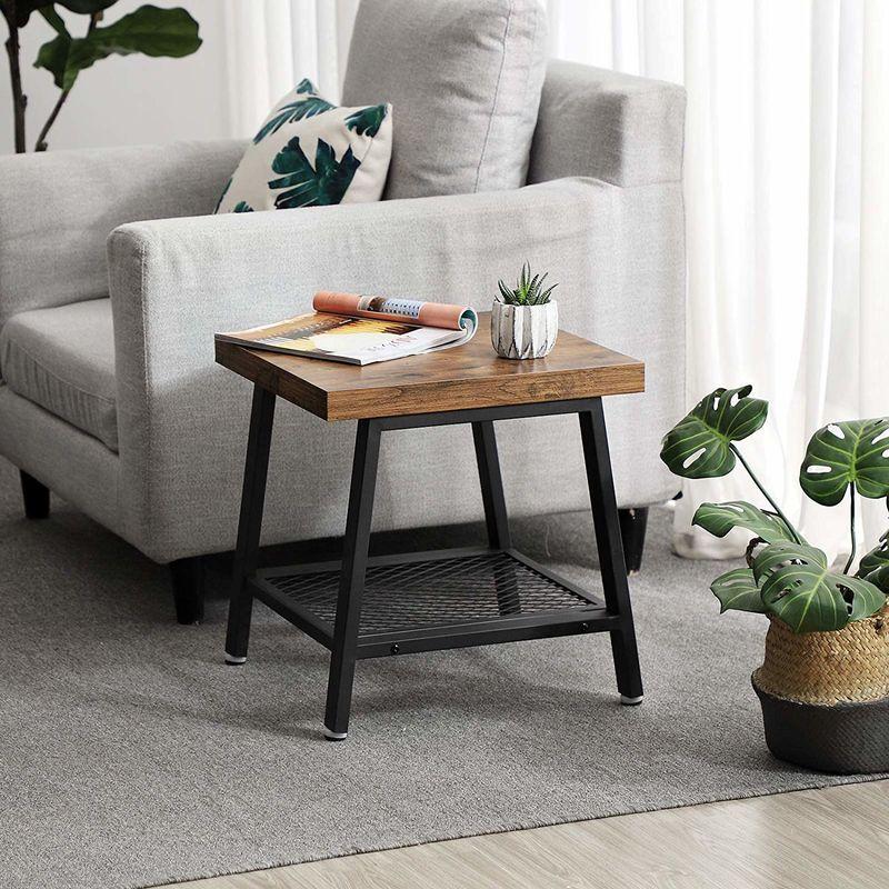 Vasagle Table Basse Table D Appoint Table De Chevet Bout De Canape Style Industriel Armature Metallique Aspect Bois Vieilli Pour Salon