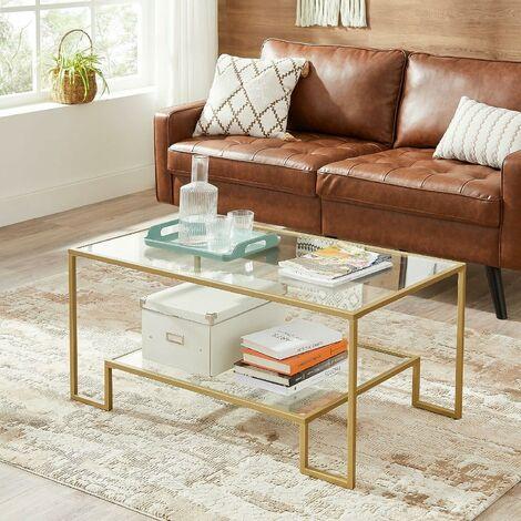 """main image of """"VASAGLE Table basse, Table de salon, 2 niveaux en verre trempé, cadre en acier, 100 x 55 x 45 cm, rectangulaire, décoration de salon, Doré par SONGMICS LGT033A01 - Doré"""""""