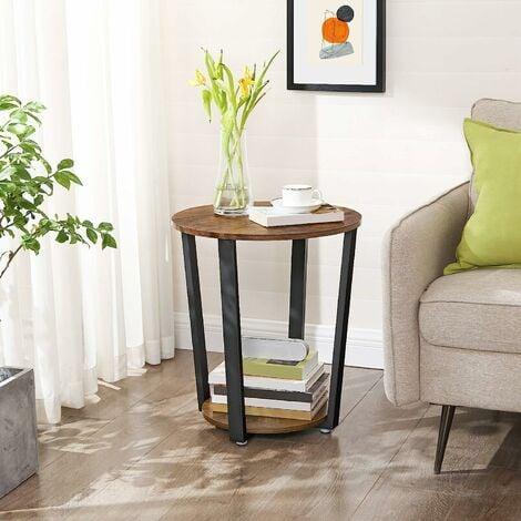 VASAGLE Table d\'Appoint, Table Ronde, Bout de Canapé de ...