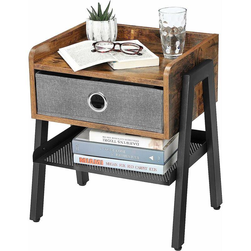 Salon Industrielavec Tissu Non de Table tisséMontage FacileArmature Style en VASAGLE Tiroir d'Appoint métalliquepour de ChevetTable Nwm0v8nO
