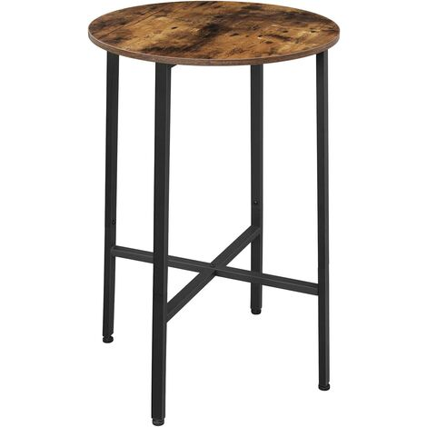VASAGLE Tall Bar Table, Round Table, Heavy-Duty Steel Frame, Easy Assembly, for Living Room Kitchen, Industrial Style, 60 x 90 cm (Dia. x H), Rustic Brown and Black by SONGMICS LBT60X