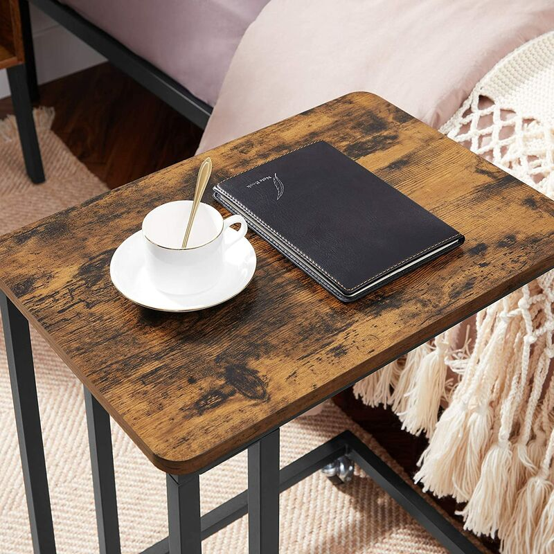 HONGTA Legno Salotto tavolino da Letto Divano Ufficio Mobile tavolino su Ruote scaffale Aperto,Black