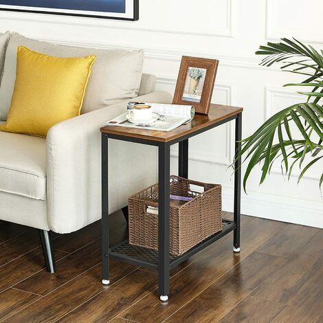 Acciaio VASAGLE Tavolo Consolle in Stile Industriale Stretto Tavolino in Soggiorno Greige e Nero LNT081B02 Tavolo da Corridoio con 2 Ripiani di Rete 101,5 x 35 x 80 cm Credenza